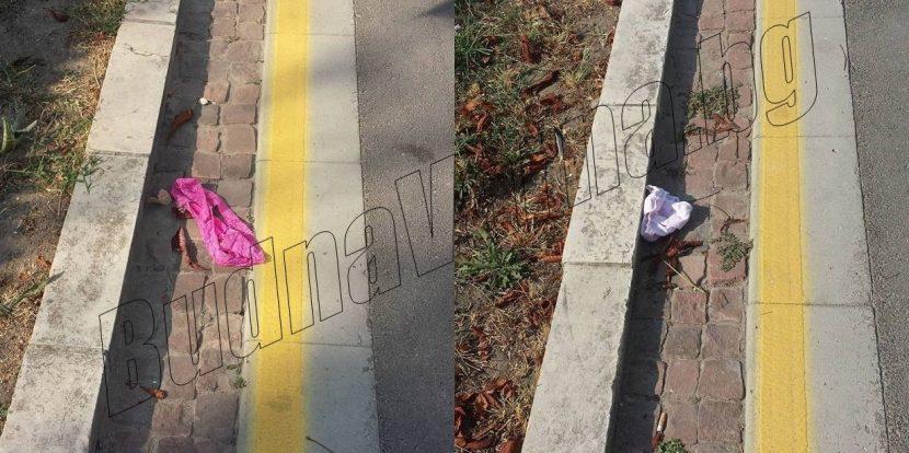 Женско бельо се търкаля пред Община Варна