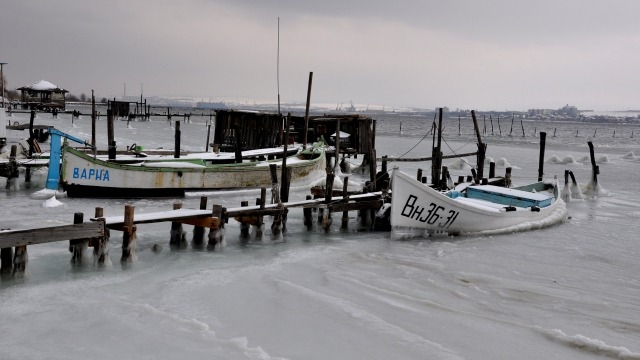 Лед скова Варненското езеро (снимки)