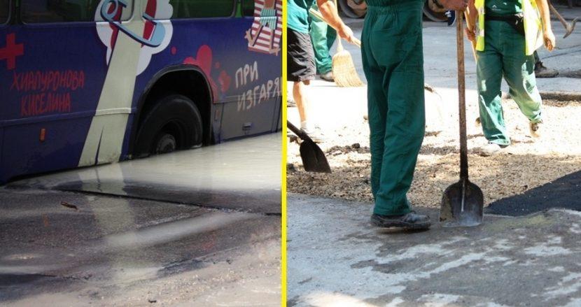 Закърпиха улицата във Варна, на която вчера пропадна автобус 13