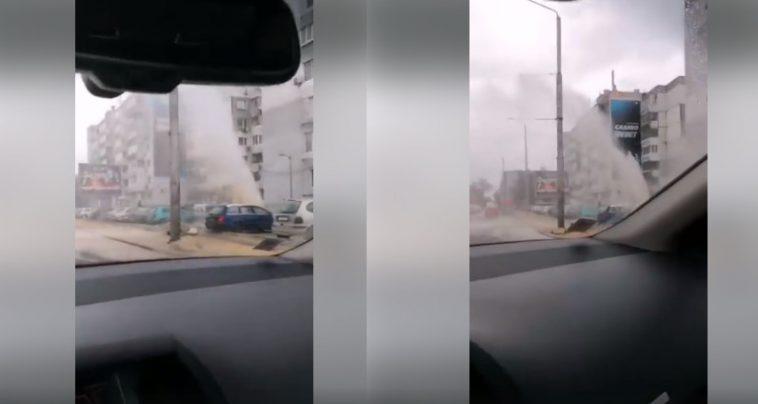 """10-метров гейзер бликна на """"Сливница"""" (ВИДЕО)"""