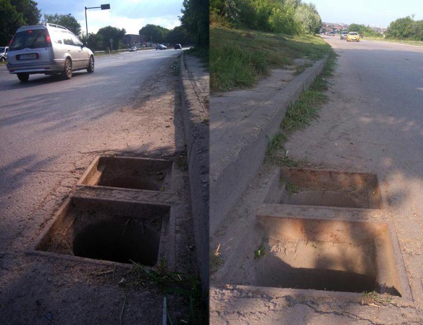 """Шахти без капаци зеят на ул. """"Девня"""" (СНИМКИ)"""