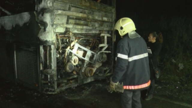 Късо съединение е вероятната причина за запалването на автобуса Одрин – Варна
