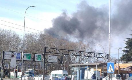 Голям пожар на изхода на Варна към летището (снимки)
