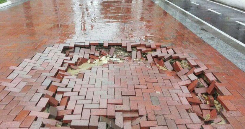 Пропадна част от улица (снимки)