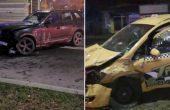 Пиян с БМВ връхлетя върху такси с клиенти на центъра