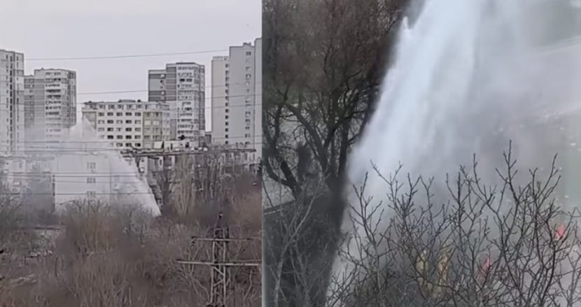 """Гейзер бликна във варненския квартал """"Левски"""" (видео)"""