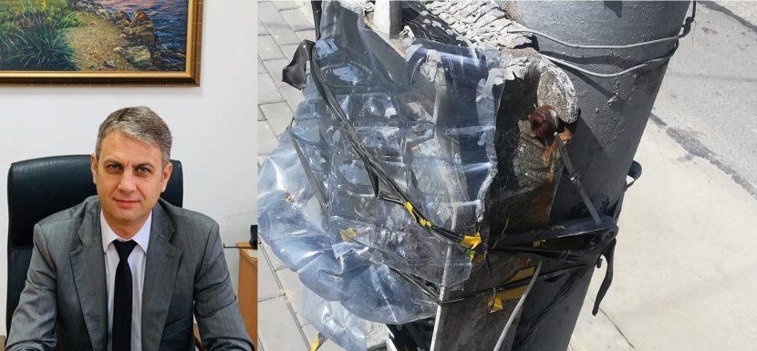 Пламена Ванкова: Кмете така изглежда ел. кутия пред читалището върху току-що наредените павета за тротоар
